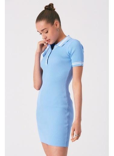 Robin Düğmeli Polo Yaka Triko Elbise Mavi Mavi